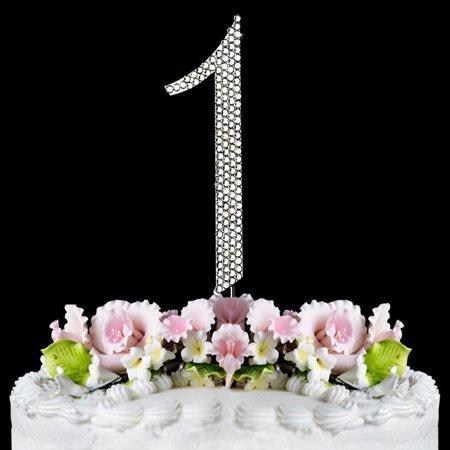 1st Birthday Cake Topper Bling Sparkling Birthday Cake Number Top