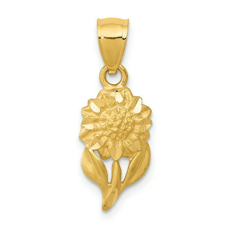 14k Yellow Gold Sunflower Pendant Charm Necklace Flower Gardening Gifts For Women For Her