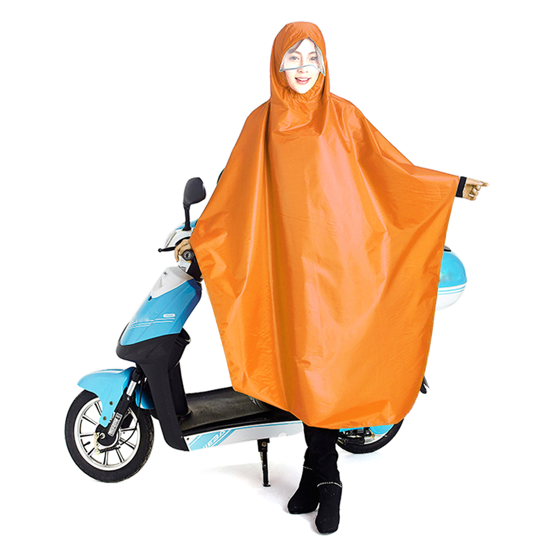 Yellow Adult Poncho Cycling Raincoat Bicycle Hooded Waterproof Rain Coat Cover by