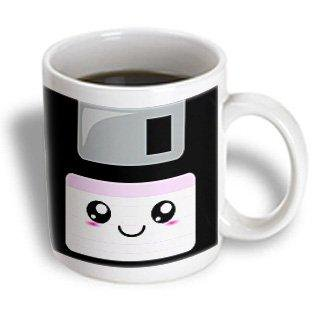 3dRose Kawaii Cute Happy Floppy Disk - Retro computer Nerd - Japanese Anime Smiley cartoon with pink label, Ceramic Mug, 11-ounce