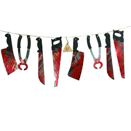 Halloween Haunted House Party Hanging Bloody Weapons Garland Banner Decorations Props, 6.6ft (Welcome To Our Halloween Party)