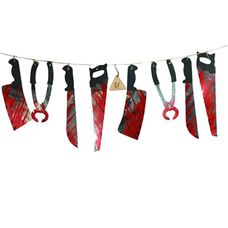 Halloween Haunted House Party Hanging Bloody Weapons Garland Banner Decorations Props, 6.6ft
