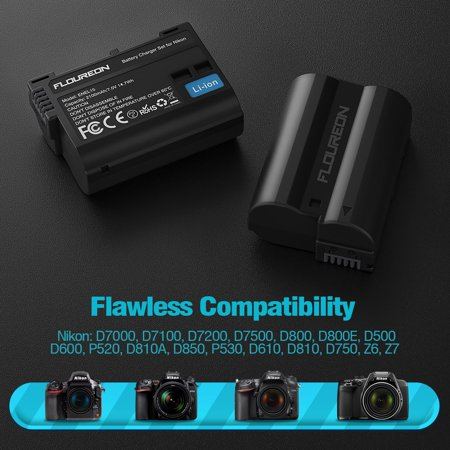 Floureon ENEL15 7.4V 2100mAh Camera Batteries Charger Set for Nikon D7000, D7100, D7200, D7500, D800, D800E, D500, D600 and More (2100mAh, 2-Pack Replacement Battery, Dual Slot Charger) - Black (Nikon D7000 Battery Grip)