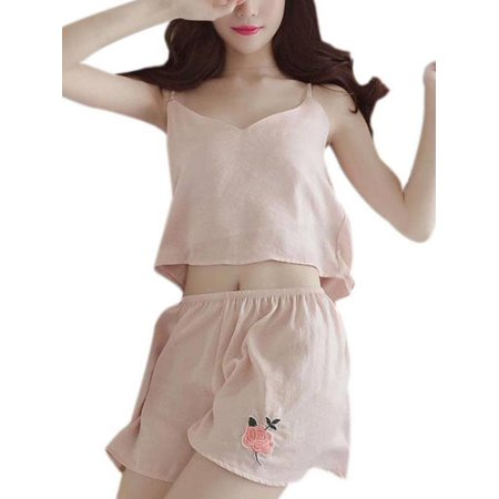 Women Short Pajamas Set Sleepwear Sexy Lingerie Satin Cami Shorts (Sleepwear Cami Set)
