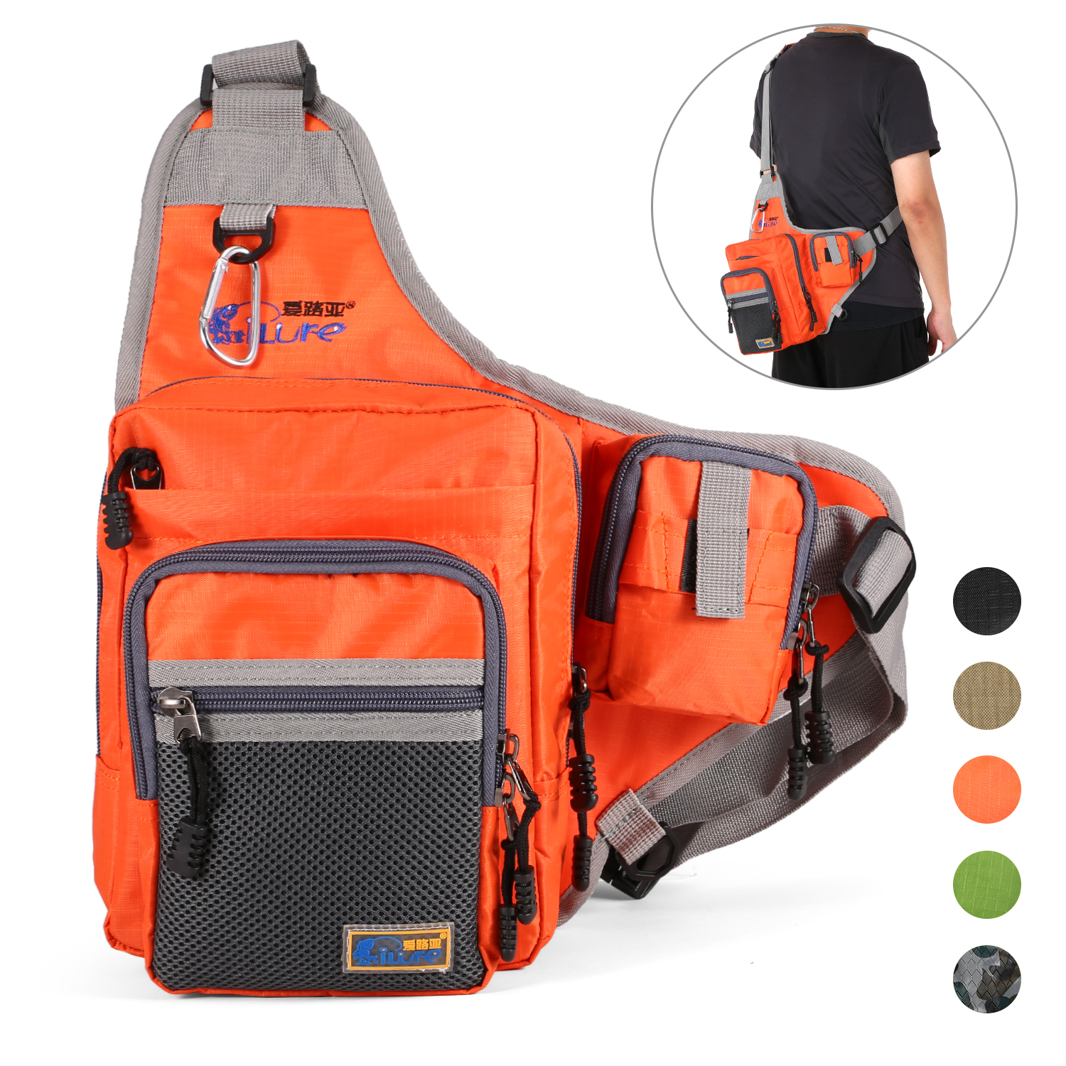 Details about  /iLure Fishing Bag Canvas Fishing Tool Pack Reel Lure Tackle Bag Waterproof I5X8