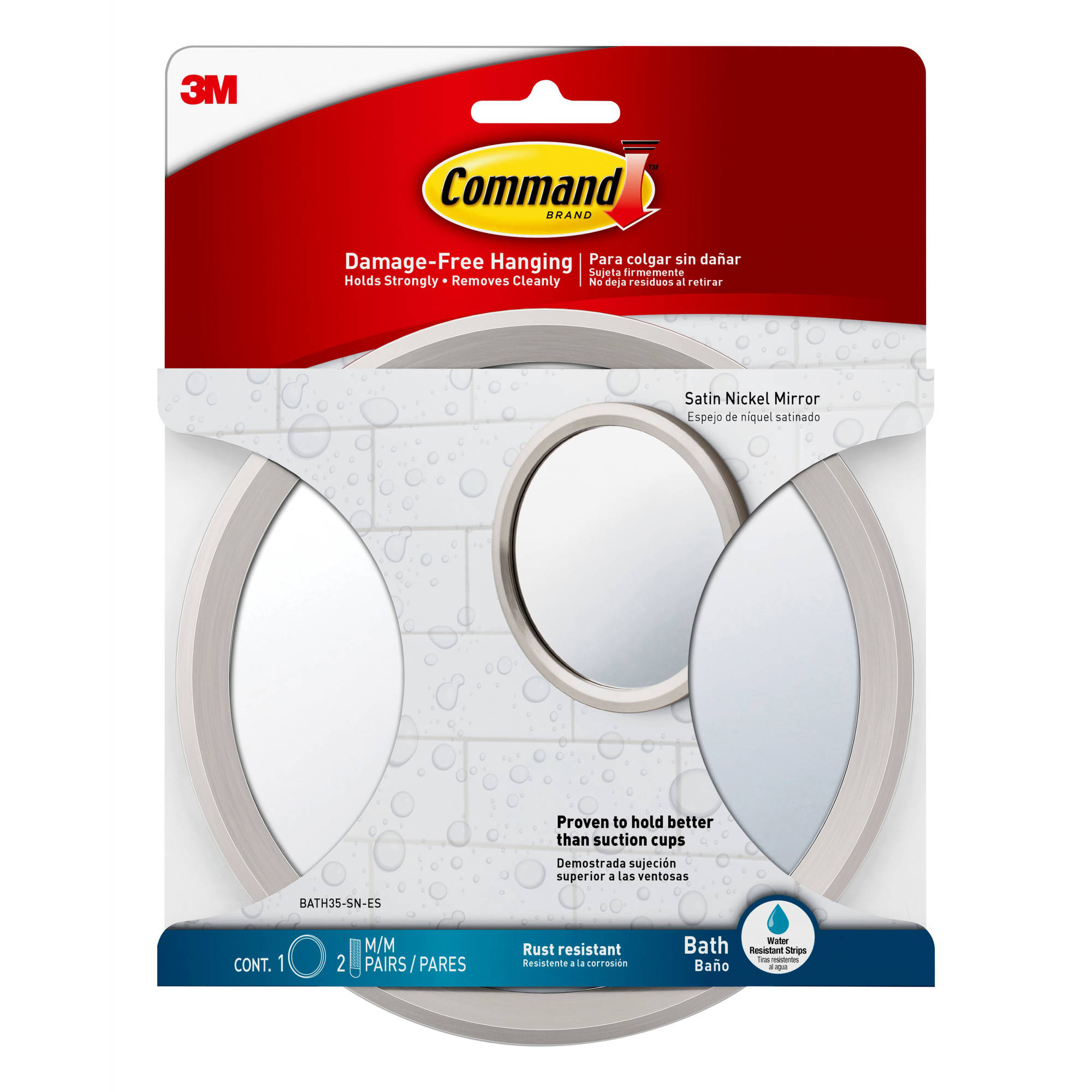 Command Bath Mirror, Satin Nickel, 1 Mirror, 2 Sets of Medium Water-Resistant Strips by 3M