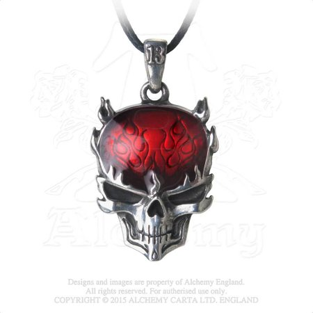 Flame Brain Exposed Head Skull Red Enameled on Black Cord Gothic - Exposed Brain