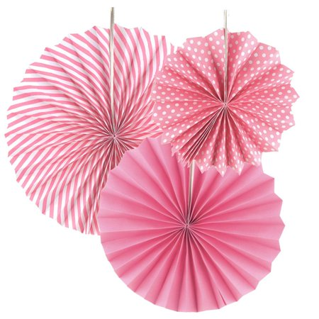 Paper Rosette Pinwheel Party Backdrop Fans, Pink, Assorted Sizes, 3-Piece](Party Pinwheels)