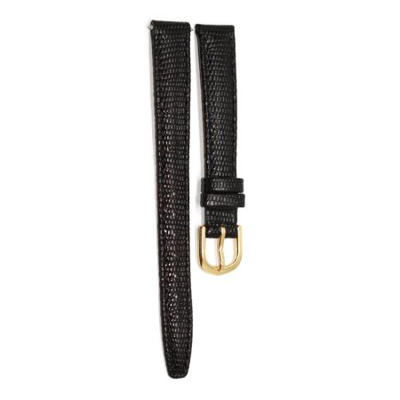 12MM BLACK STITCHED PADDED ITALIAN LIZARD GRAIN LEATHER WATCH BAND STRAP