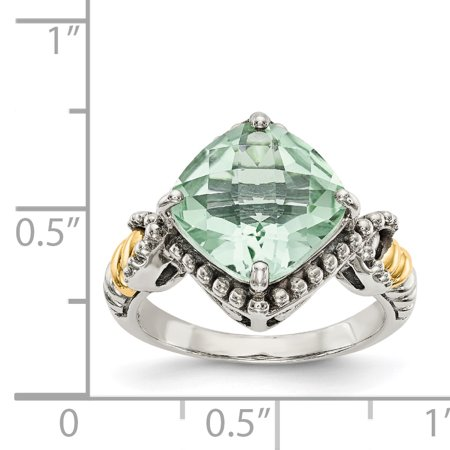 Sterling Silver Two Tone Silver And Gold Plated Sterling Silver w/14ky Green Quartz Cushion Ring - image 1 de 3
