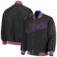 New York Mets G-III Sports by Carl Banks Game Ball Full-Snap Varsity Jacket - Gray