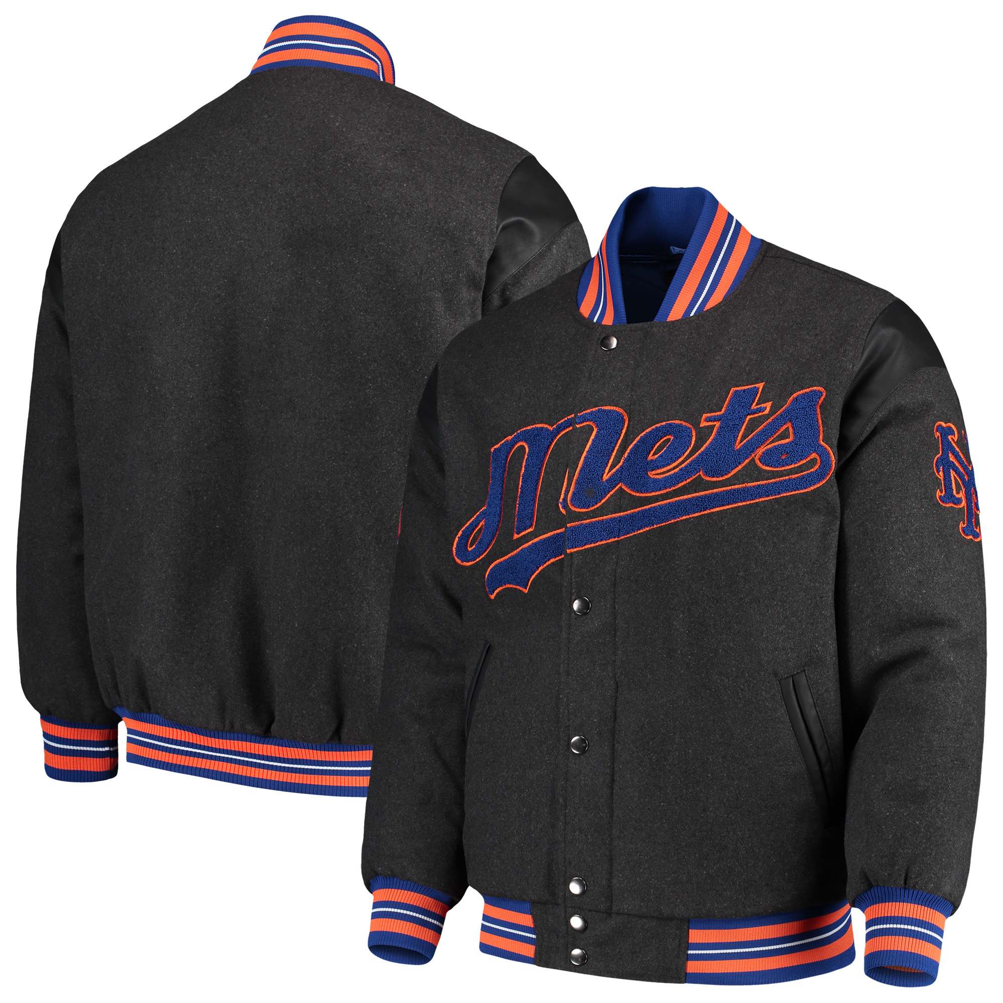 New York Mets G-III Sports by Carl Banks Game Ball Full-Snap Varsity Jacket - Gray