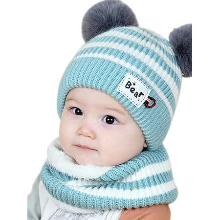 Funcee Cute Winter Baby Striped Hat + Scarf Kid Fuzzy Hedging Caps - Fuzzy Panda Hat