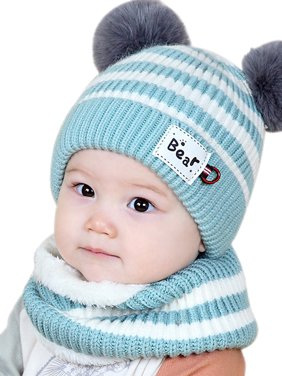 Funcee Cute Winter Baby Striped Hat + Scarf Kid Fuzzy Hedging Caps