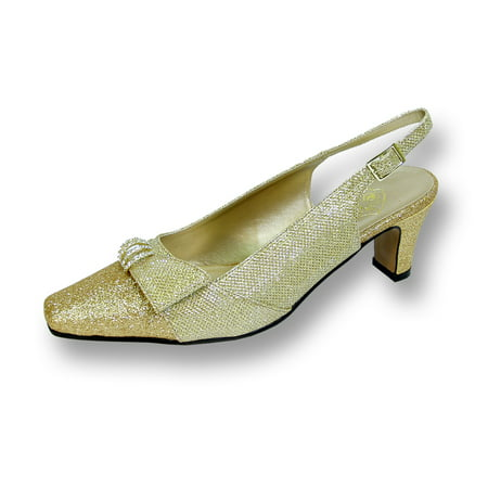 - FLORAL Emma Women's Wide Width Evening Dress Shoes for Wedding, Prom, & Dinner GOLD 7