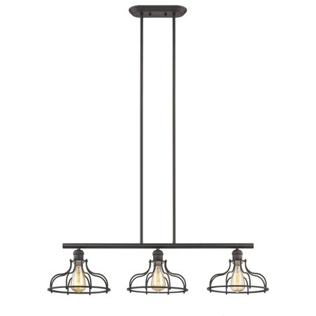 "CHLOE Lighting JAXON Industrial-style 3 Light Rubbed Bronze Island Hanging Fixture 37"" Wide"