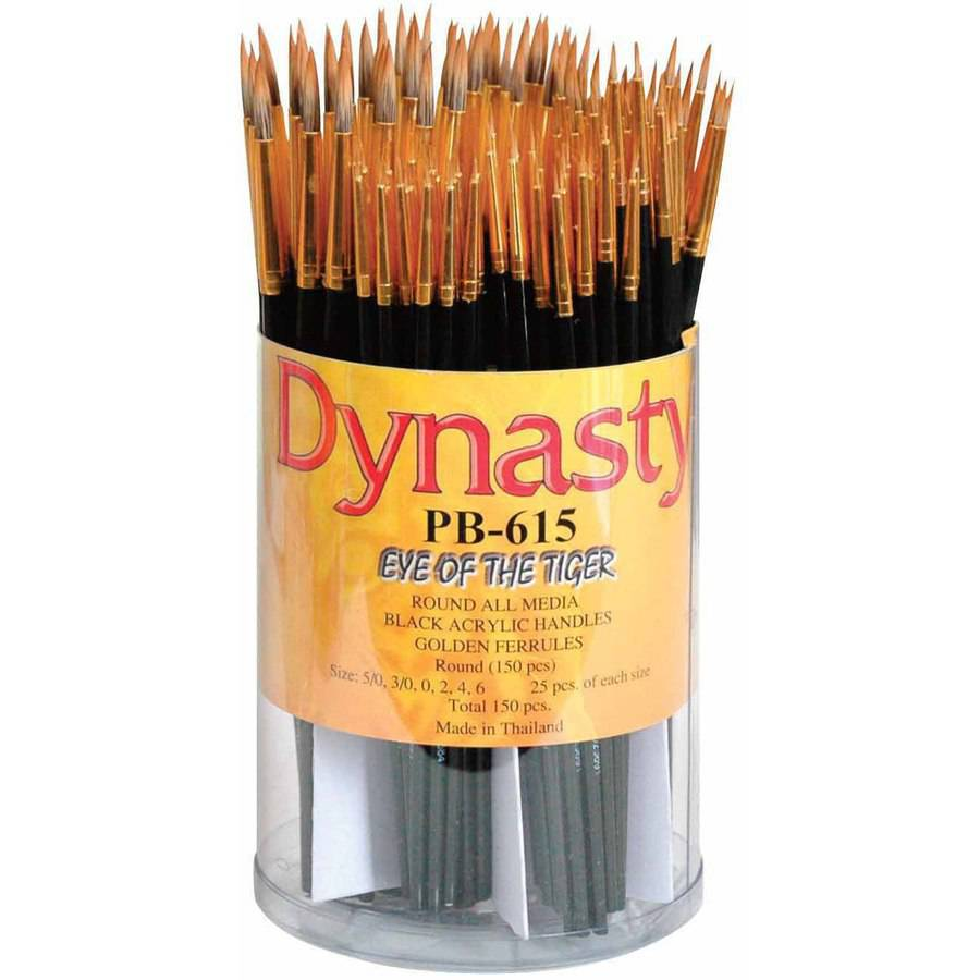 Dynasty PB-615 Eye of the Tiger Round Synthetic Hair Acrylic Handle Paint Brush Set, Assorted Size, Black, Set of 150