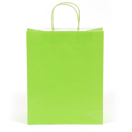 10 1/2W x 13H x 5 1/2G Large lime Green Gift Bag/Case of 60 - Lime Green Gift Bags