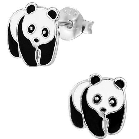 Hypoallergenic Sterling Silver Panda Bear Stud Earrings for Kids (Nickel Free)