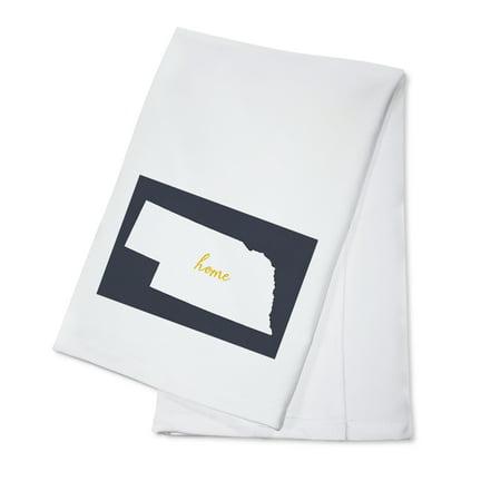 State Dish Towel - Nebraska - Home State - White on Gray - Lantern Press Artwork (100% Cotton Kitchen Towel)