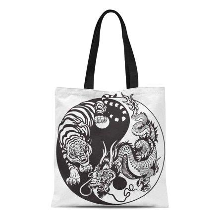 ASHLEIGH Canvas Tote Bag Dragon and Tiger Yin Yang Symbol of Harmony Balance Reusable Shoulder Grocery Shopping Bags Handbag