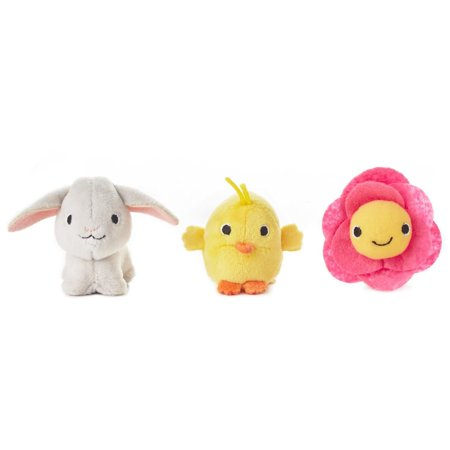 Hallmark Happy Go Luckys Baby Toddler Toys, Small Stuffed Animals, Bunny Chick Flower, Set of 3 Limited Edition