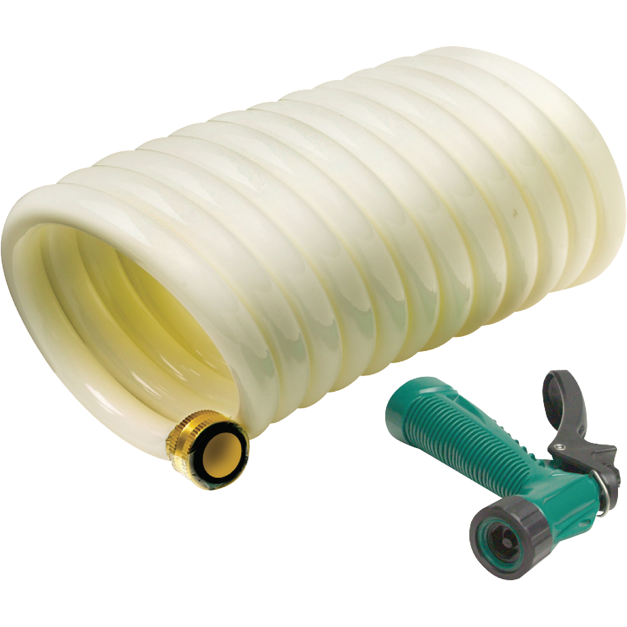 Seachoice 25' White Poly Coiled Washdown Hose with Sprayer by Seachoice Products