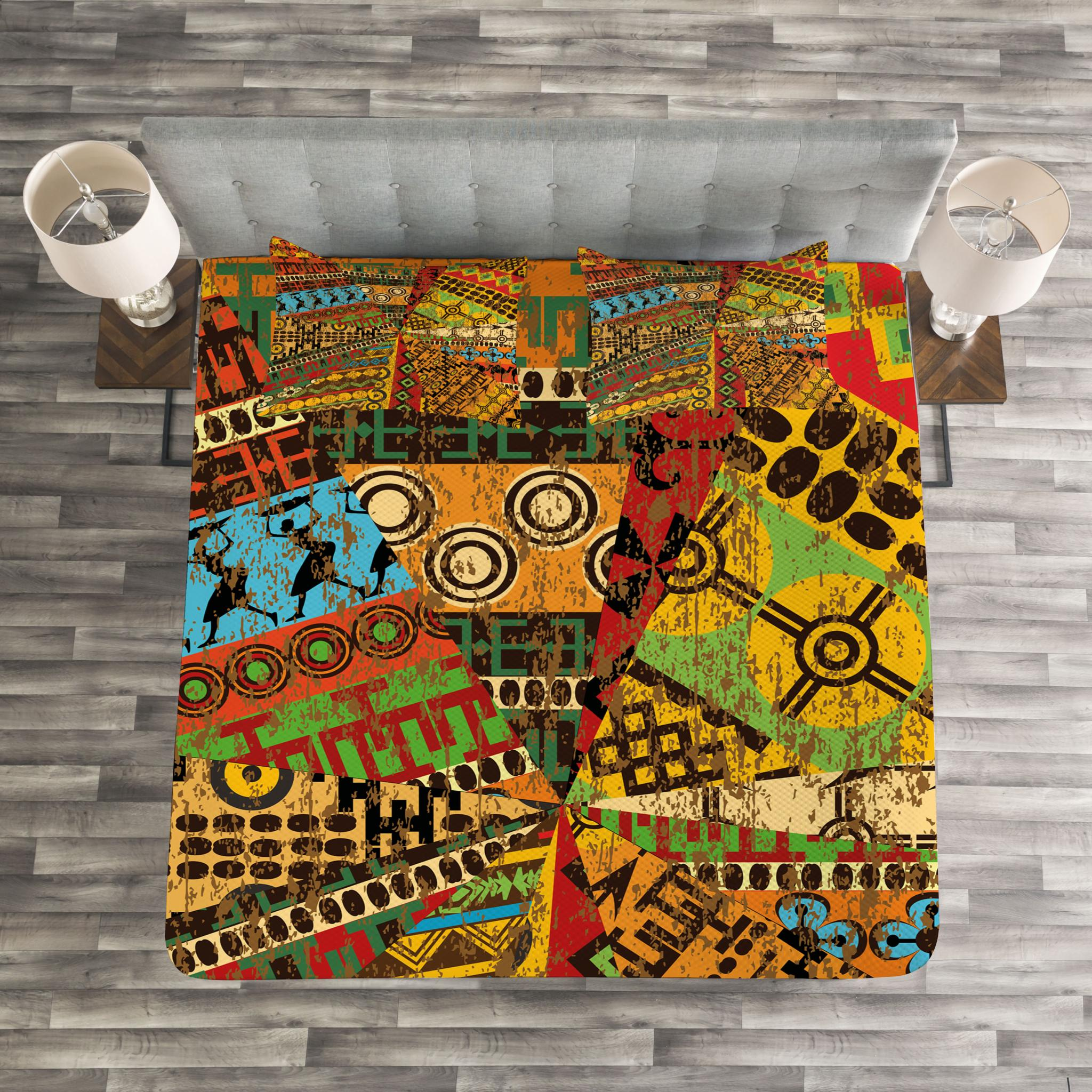 Grunge Collage with Ethnic Motifs Tribal Ancient Traditional Art Ornate Geometric Multicolor bed/_36531/_queen 3 Piece Decorative Quilted Coverlet with 2 Pillow Shams Ambesonne African Bedspread Set Queen Size