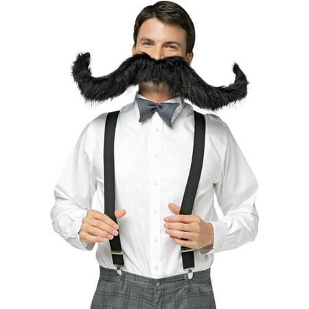 Black 30 inch Super Stache Adult Halloween Accessory (Amazon 30 Off Halloween)