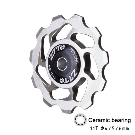 ZTTO 11T MTB Bicycle Rear Derailleur Jockey Wheel Ceramic Bearing Pulley CNC Road Bike Guide Roller Idler 4mm 5mm (Best Road Bike Wheels For The Money)