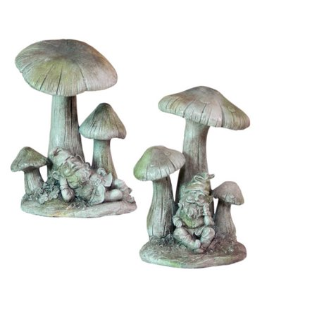 Melrose Set of 2 Meadow's Dream Gnomes Lounging Under Mushrooms Garden Statues (Mushroom Statue)
