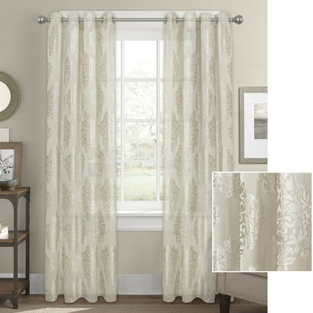 Better Homes & Gardens Sheer Velvet Medallion Blossom Window Curtain Panel