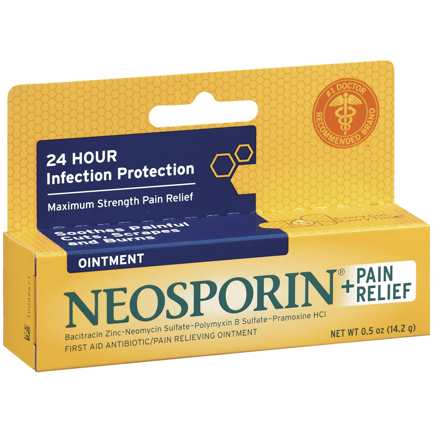 Neosporin First Aid Antibiotic Ointment Maximum Strength Pain Relief, 0.5 Ounce