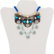 """Gold-Tone Multi Blue Cord Statement Necklace, 17"""" with 3"""" Extender"""