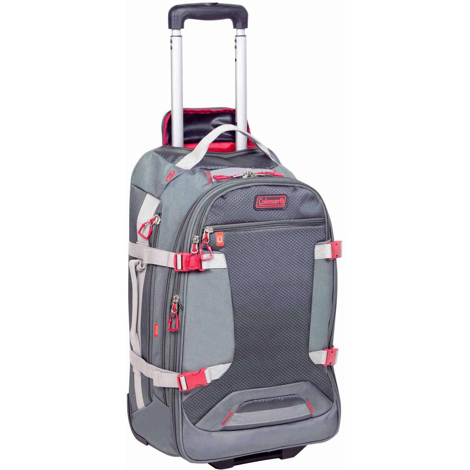 """Coleman Everest 29"""" Casual Upright Rolling Suitcase, Grey with Red"""