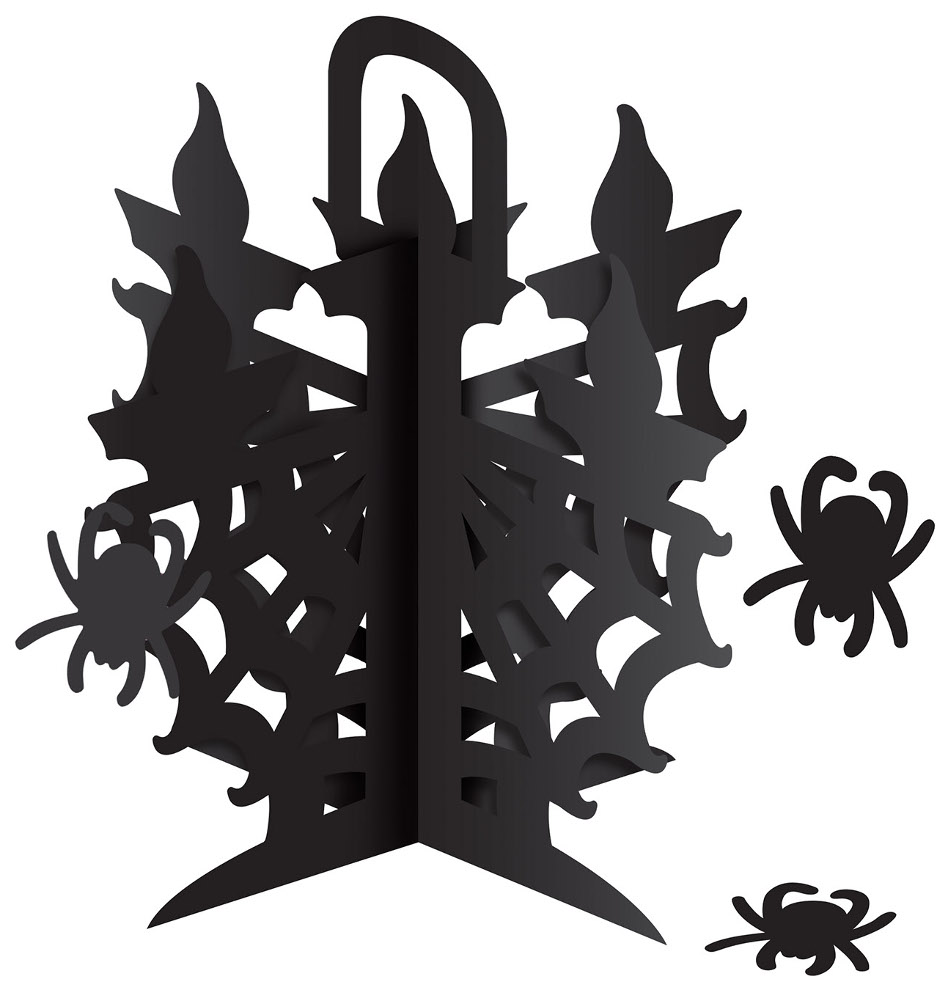 "New 12"" 3-D Candelabra Centerpiece With Spiders Decoration"