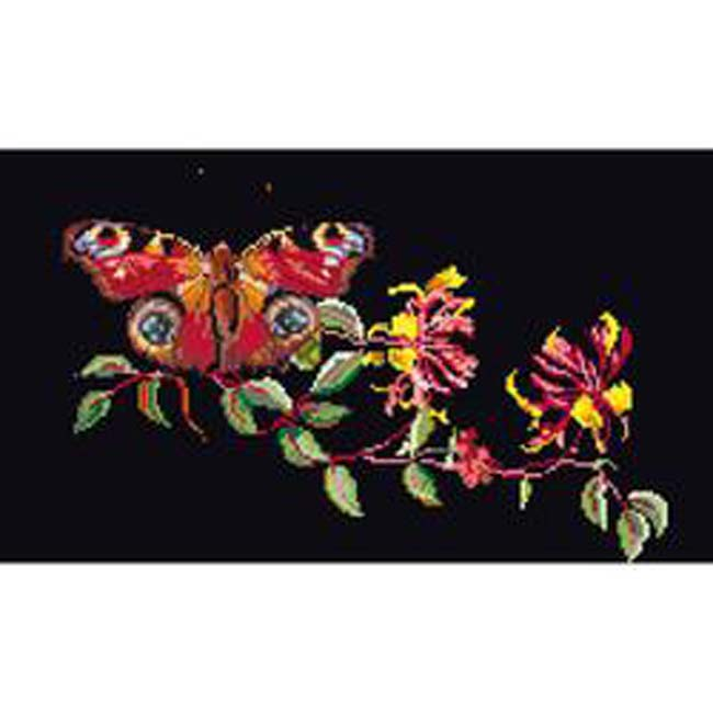 """Thea Gouverneur Counted Cross Stitch Kit 11.5""""X7""""-Butterfly-Honeysuckle On Aida (18 Count)"""