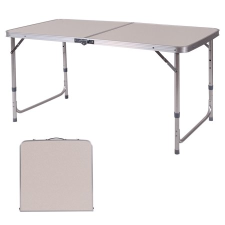 Costway 2 39 x4 39 height adjustable folding table aluminum for Table pliante walmart