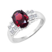 Sterling Silver Garnet and White Topaz Ring Size: 6 , Color: Red