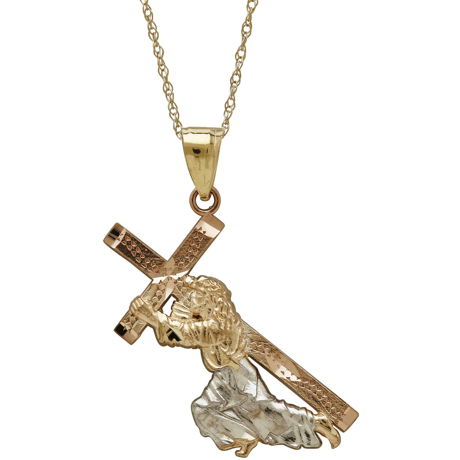 Simply Gold Precious Sentiments 10kt Yellow, White and Pink Gold Jesus Carrying Cross Pendant, 18