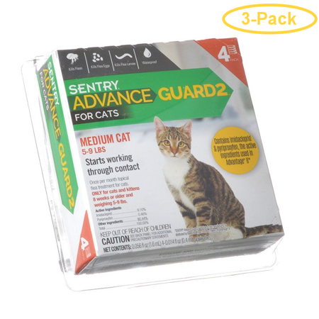 Sentry Advance Guard 2 for Cats Cats 5-9 lbs - 4 Month Supply - Pack of 3 Cats 3 Month Supply