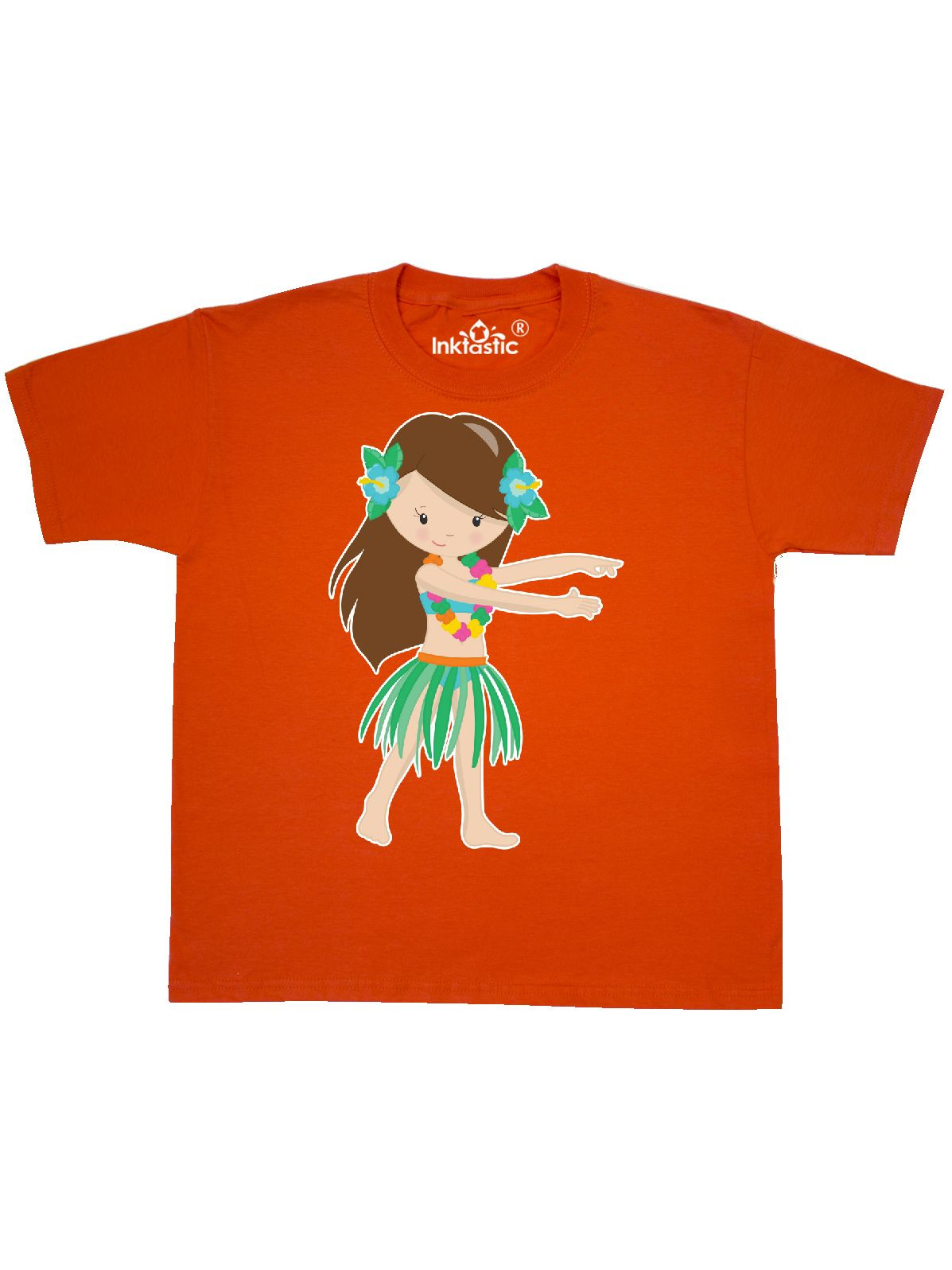 Brown Haired Hula Girl Youth T-Shirt