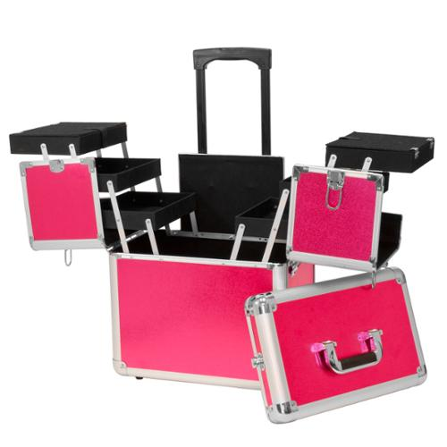 Salon Supply Store 2 Tier Rolling Makeup Storage Case, HOT PINK, MCASE-440-HPNKST