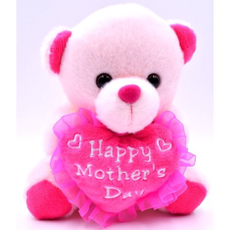 cute small pink teddy bear plush holding a heart happy mother s day