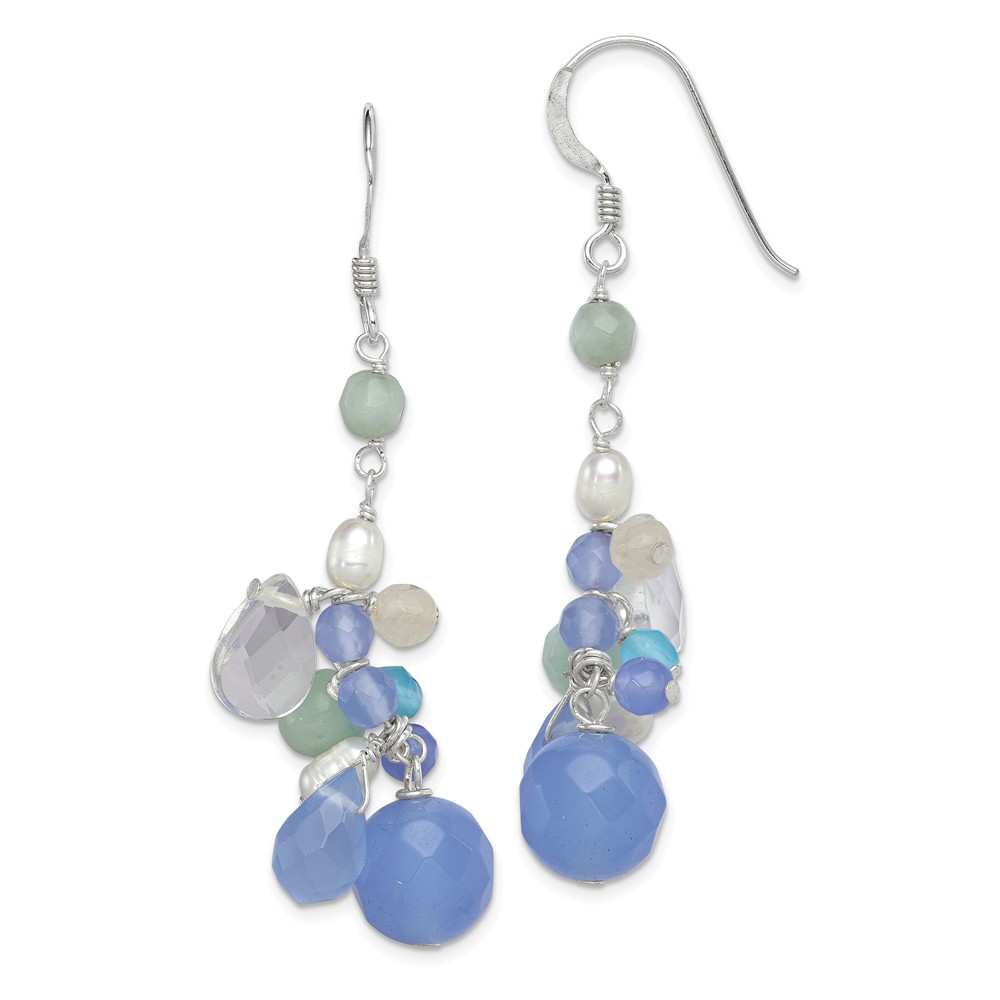 Solid 925 Sterling Silver Blue Lace Simulated Agate/Simul...