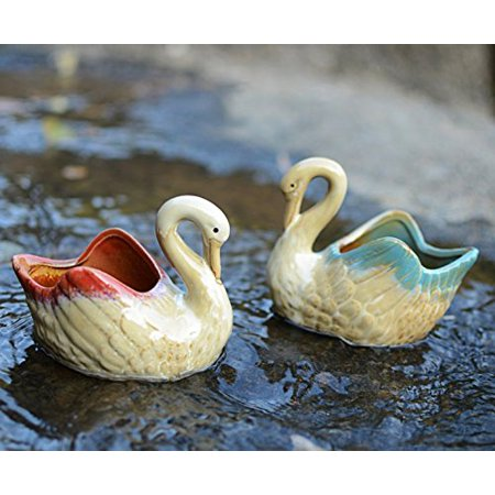 Mr. Garden 3.93x2.8 inches Swan Ceramic Flower Planters / Succulent Plant Pots,Home Office Decor Planter, Red and Blue, 2Pack (Swan Pot)