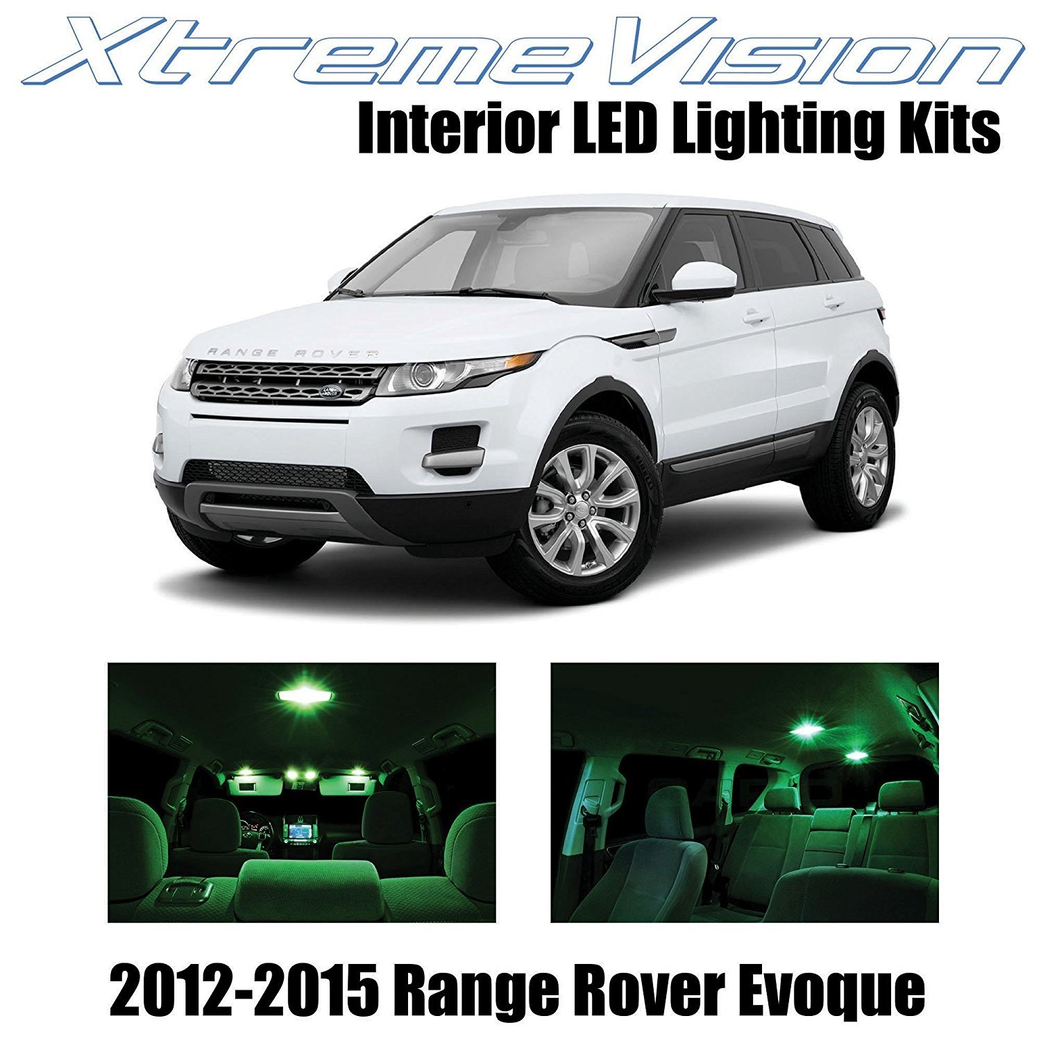 XtremeVision LED for Land Rover Range Rover Evoque SUV 2012-2015 (9 Pieces) Green Premium Interior LED Kit Package + Installation Tool