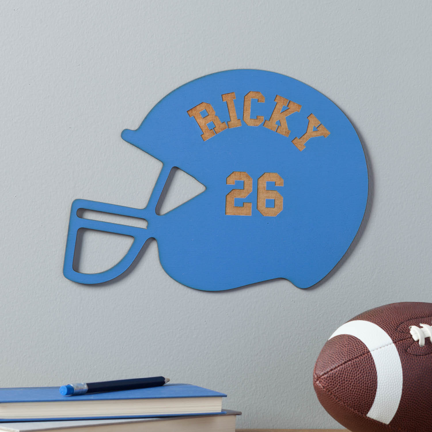 Personalized Wood Football Helmet Plaque