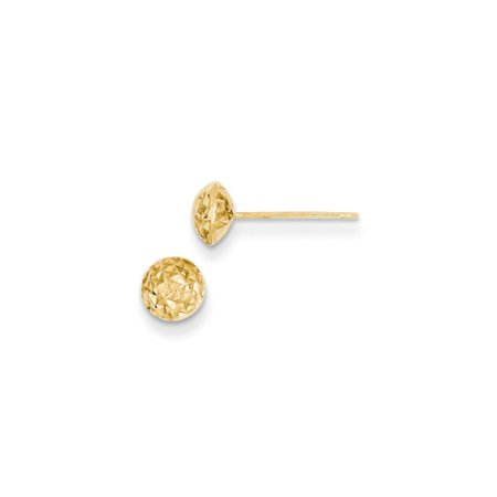 6mm Diamond Cut Puffed Circle Post Earrings in 14k Yellow Gold Double Circle Diamond Earrings