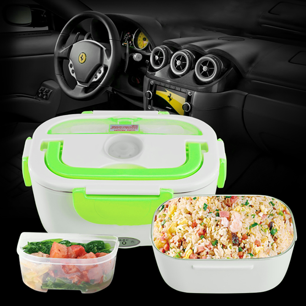 12V Car Use Heating Lunch Box Electric Multi-functional Food Warmer Meal Heater, Green and White by Uarter